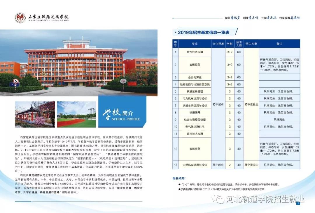 石家庄铁路运输学校2019年招生简章